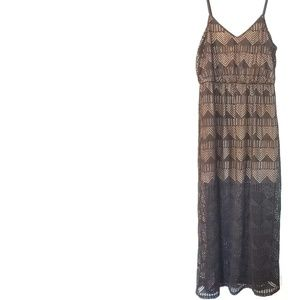 XL Maurices Black Laser Cut Illusion Maxi Dress